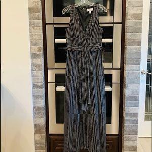 Badgley Mischka Black/White Polka Dot Maxi Dress